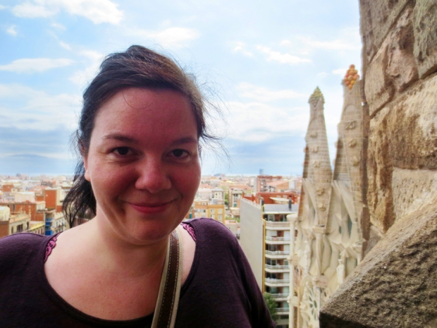 Happy camper at the top of La Sagrada Familia