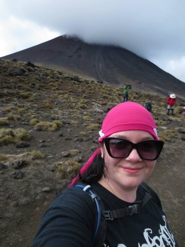 Mt. Ngauruhoe in the back, my new friends, Lauren & Alex were climbing this while I was doing the track.