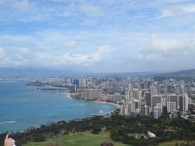 Great view of Waikiki beach and the Royal Hawaiian Hotel (pink) in the distance. Oldest hotel here.