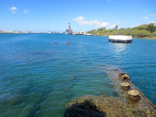 The USS Arizona under the water