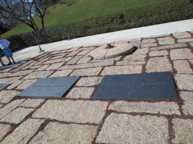 The graves of John F. Kennedy and his wife, Jacqueline. He is one of only two presidents to be interred at Arlington.