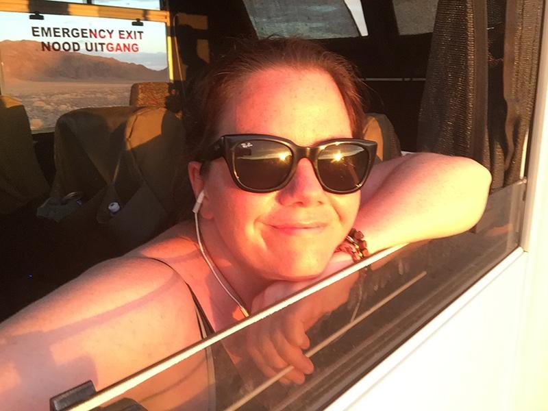 Anne Karen in the truck