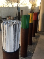 You can choose the color of stick dependant on the color of the Mandela qute you like the best and then put the stick in the monument behind it. Participation is encouraged, I chose white (no pun intended)