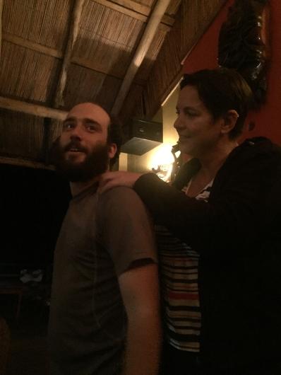 Claire giving Asa a massage