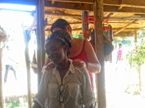 Claire giving Beaurah (our tailor) a massage