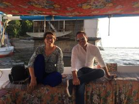 Kaitlin and Basil on the Felucca