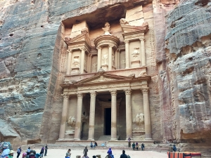 The famous Treasury Building in Petra
