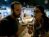Ben and Kaitlin testing local drinks
