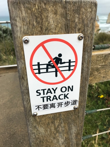 Yeah, don't climb over the fence and drop down the cliff