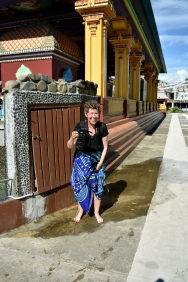 Jane getting her sarong wet