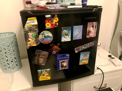Trying out my souvenir magnets on my room's fridge