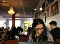 Kaitlin at the café